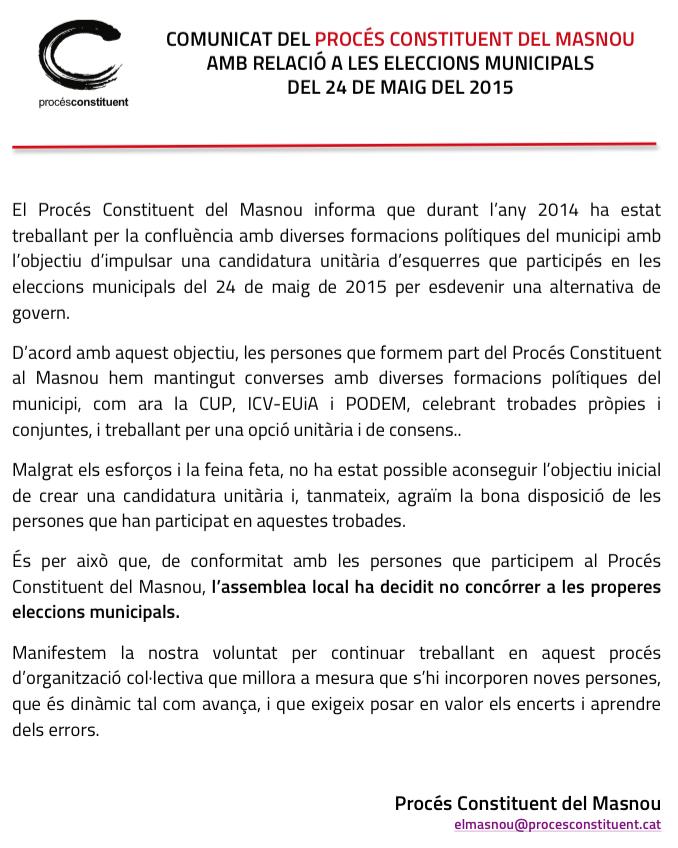 Comunicat PC Masnou - Eleccions Municipals